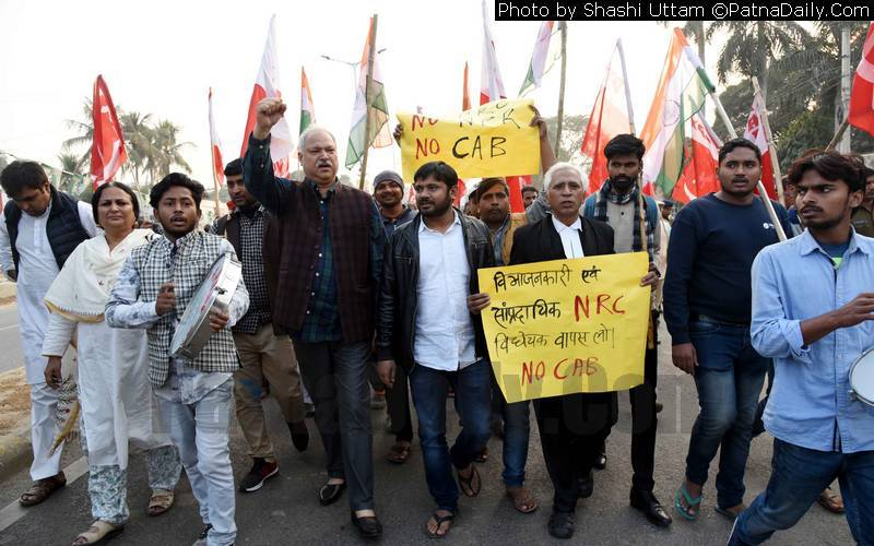 Kanhaiya Kumar leads protest against CAB in Patna on Tuesday.