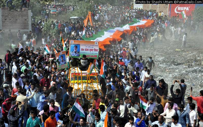 Funeral procession of martyr Sanjay Kumar Sinha passing through Patna on Saturday.
