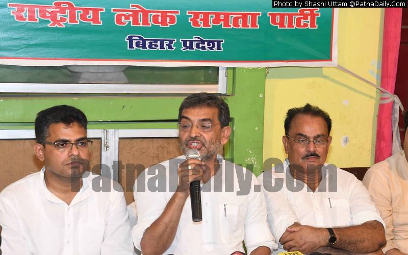 RLSP chief Upendra Kushwaha holding a press conference in Patna on Sunday.