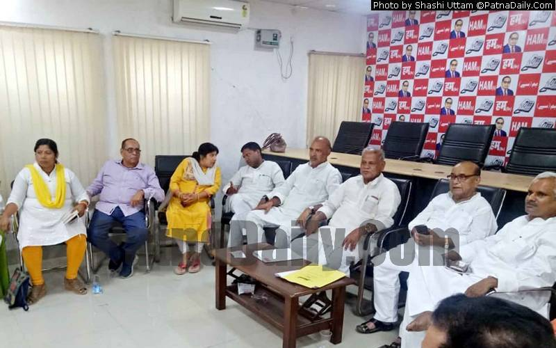 Jitan Ram Manjhi holding a press conference in Patna on Thursday.