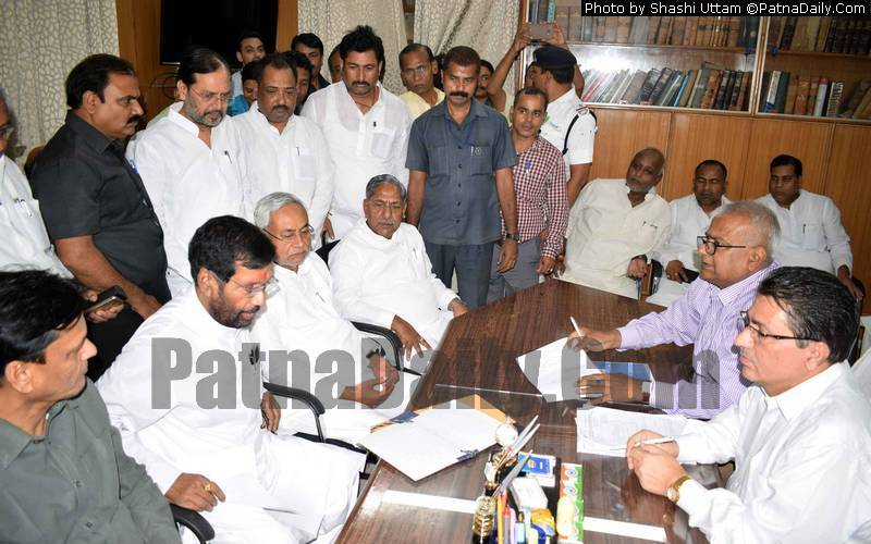 Ram Vilas Paswan filing his nomination papers for Rajya Sabha on Friday.
