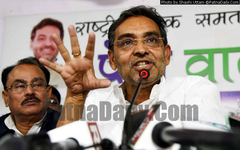 RLSP chief Upendra Kushwaha holding a press conference in Patna on Wednesday.