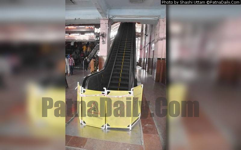 Broken escalator at Patna Junction cordoned off on Monday.