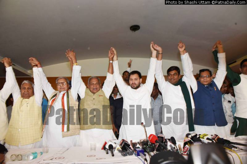 Mahagathbandhan leaders announce names of candidates at Hotel Maurya in Patna on Friday.