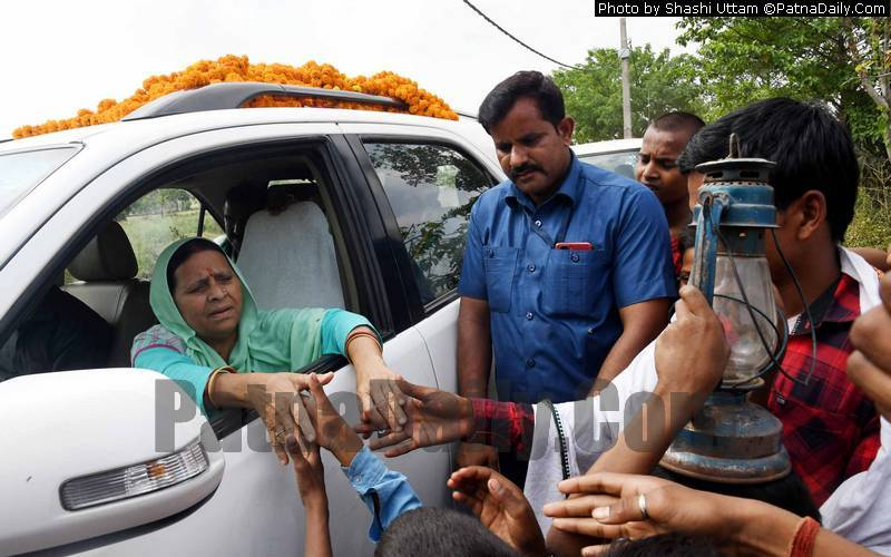 Rabri Devi campaigning in Khagaul on Saturday.