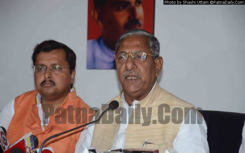 BJP leader Nand Kishore Yadav at a press conference in Patna on Wednesday.