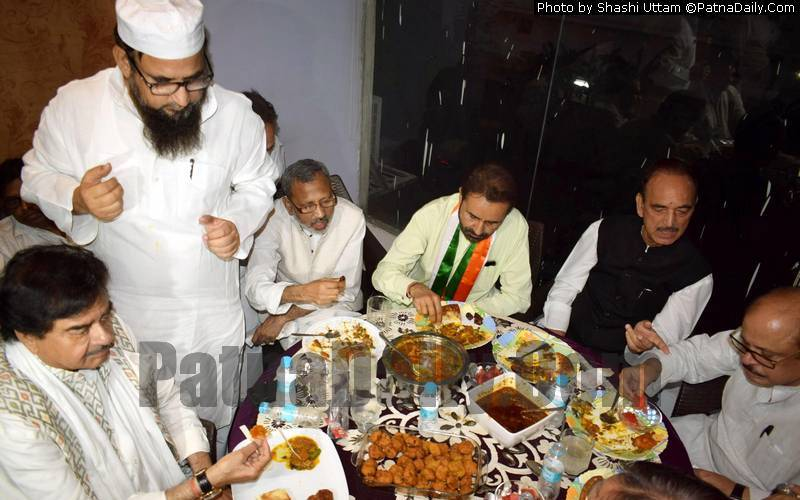 Shatrughan Sinha joins other Congress leaders for Iftar party in Patna on Tuesday.