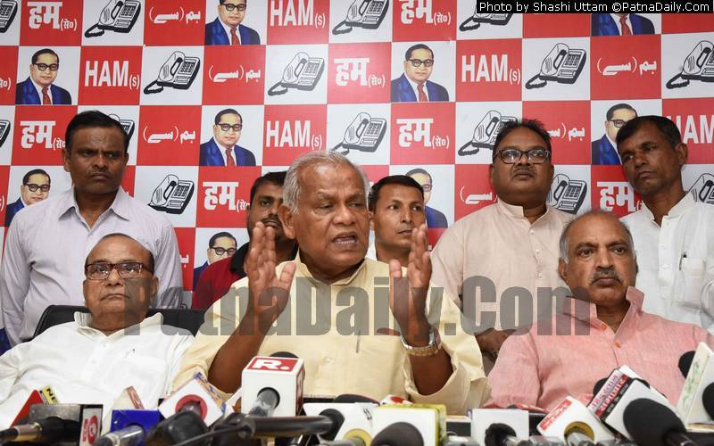 Jitan Ram Manjhi holding a press conference in Patna on Saturday.