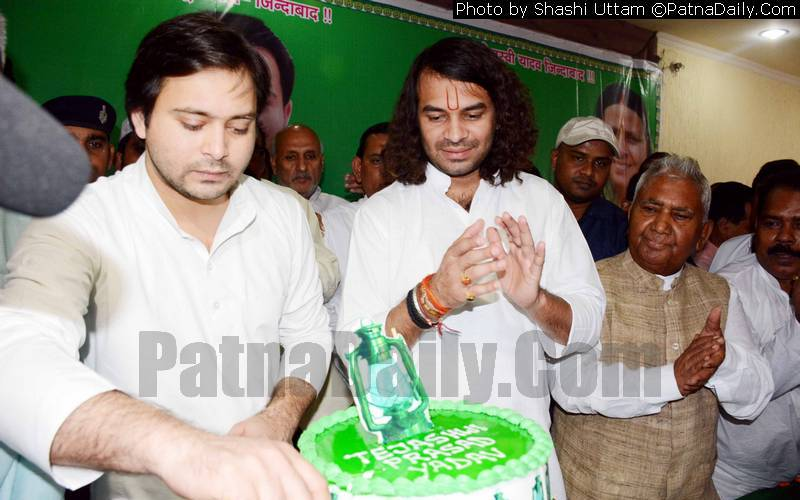 RJD leader Tejaswi Yadav celebrating his birthday at party office in Patna on Saturday.