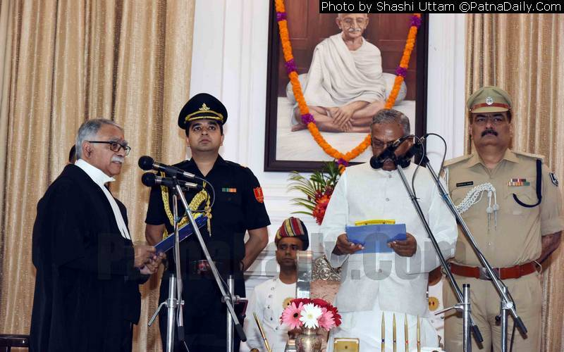 Bihar Governor administering oath of office to Patna High Court new Chief Justice Sanjay Karol.
