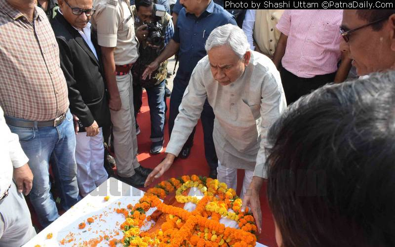 CM paying tribute to noted mathematician Vashisht Narayan Singh in Patna on Thursday.