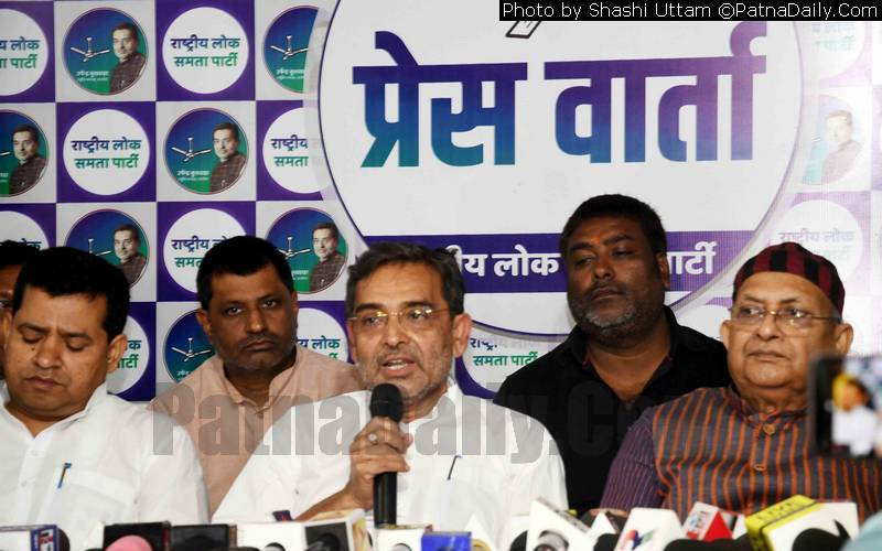 Upendra Kushwaha holding press conference in Patna on Saturday.