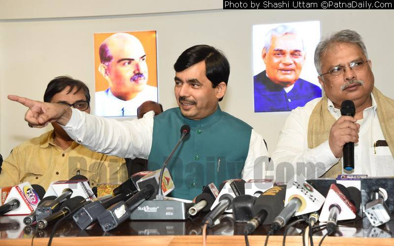 BJP leader Shahnawaz Hussain in Patna on Thursday.