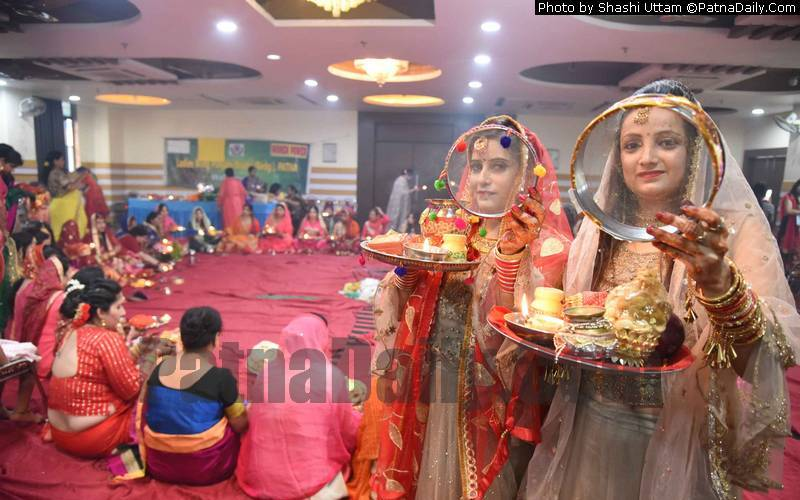 Karwa Chauth being celebrated by Punjabi women in Patna.