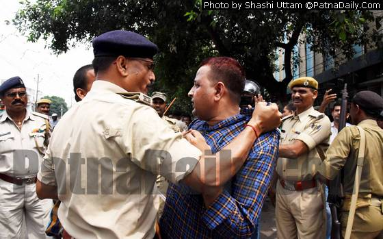 Police-protestors clash on Buddha Marg in Patna on Wednesday.