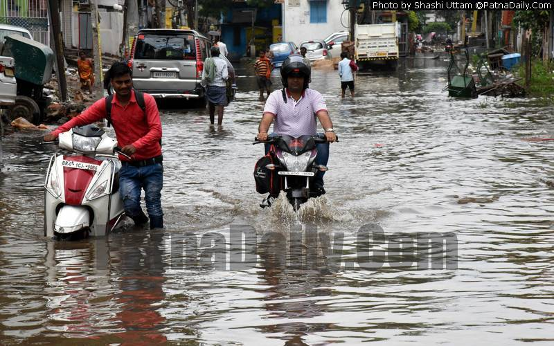 Water-logging in Patna on Wednesday morning.