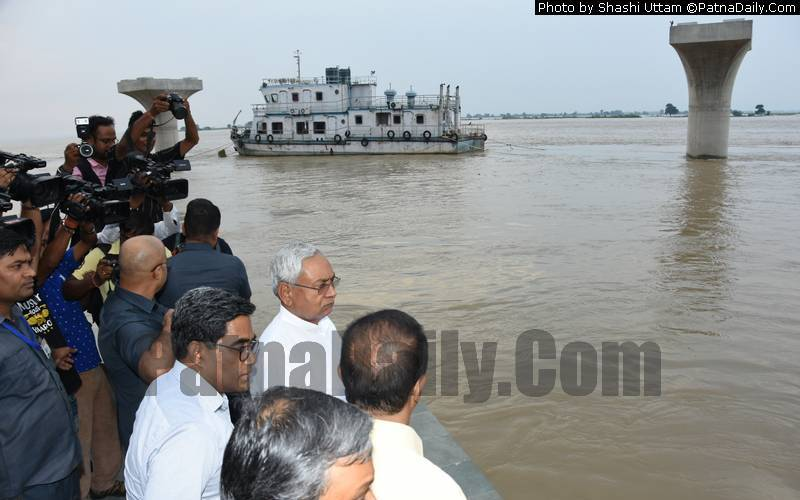 Chief Minister Nitish Kumar at a Patna ghat on Thursday.