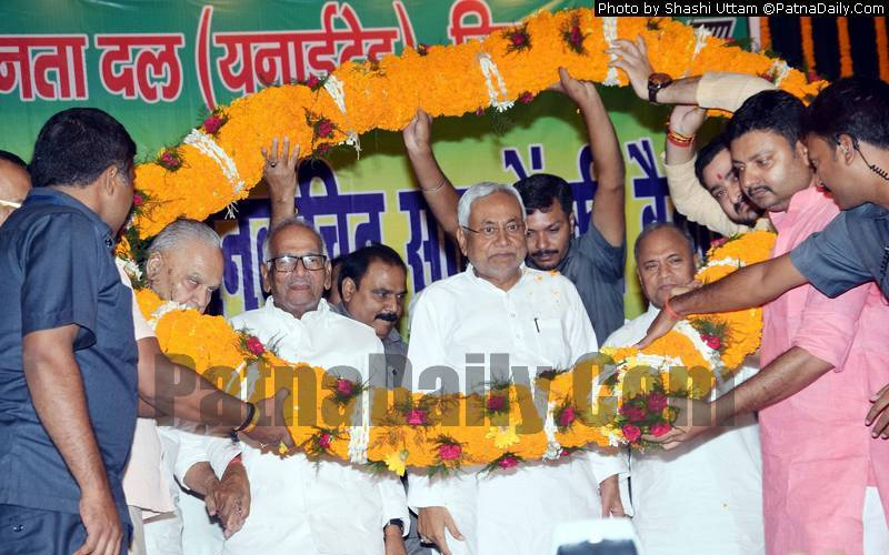 Nitish Kumar with Vashisht Narayan Singh and other JD-U leaders in Patna on Friday.