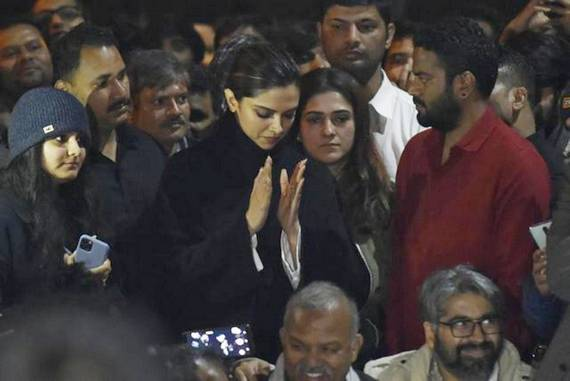 Film star Deepika Padukone at JNU campus following last Sunday's violence that left many injured.