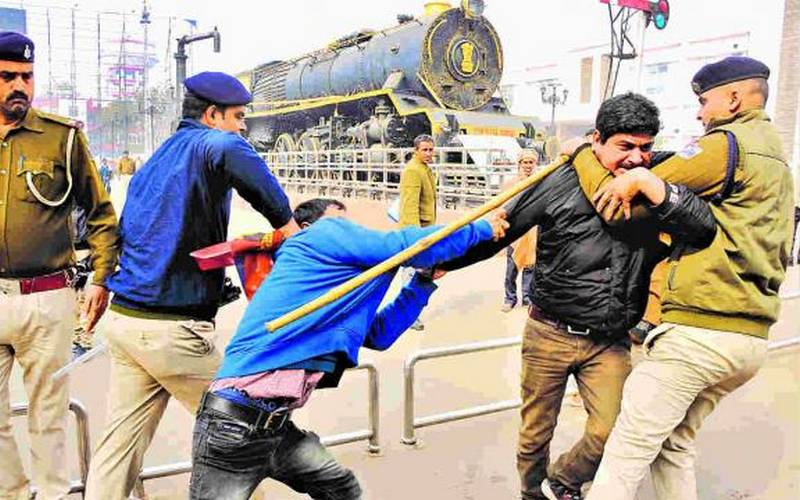 Students-police clash in Patna on Wednesday.