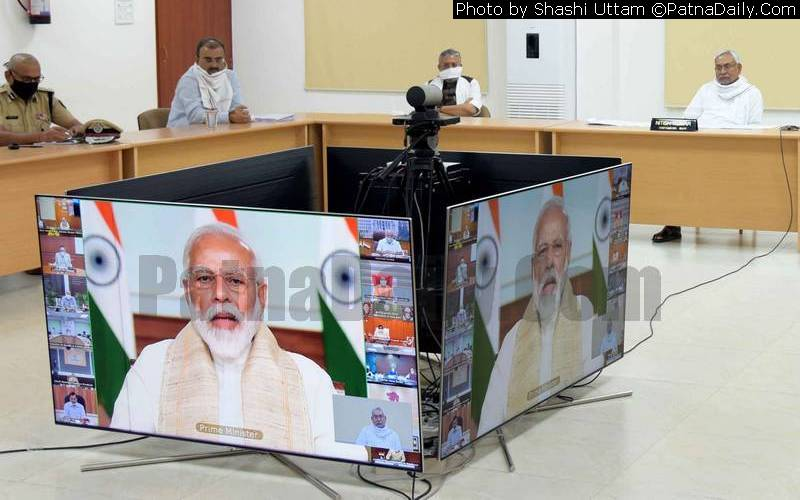 Chief Minister Nitish Kumar attending a virtual meeting with Prime Minister Narendra Modi on Wednesday.