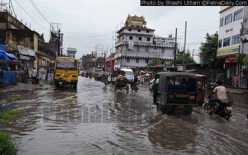 Water-logging in Karbigahia in Patna on Sunday.