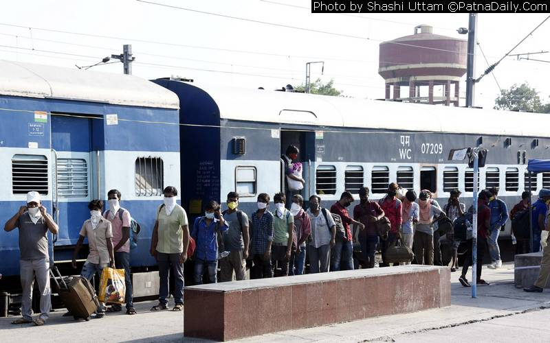 Train from Gujarat arrives at Danapur station on Friday.