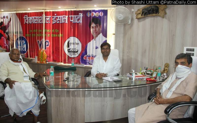 Manjhi, Sahni, and Kushwaha holding a meeting in Patna on Tuesday.