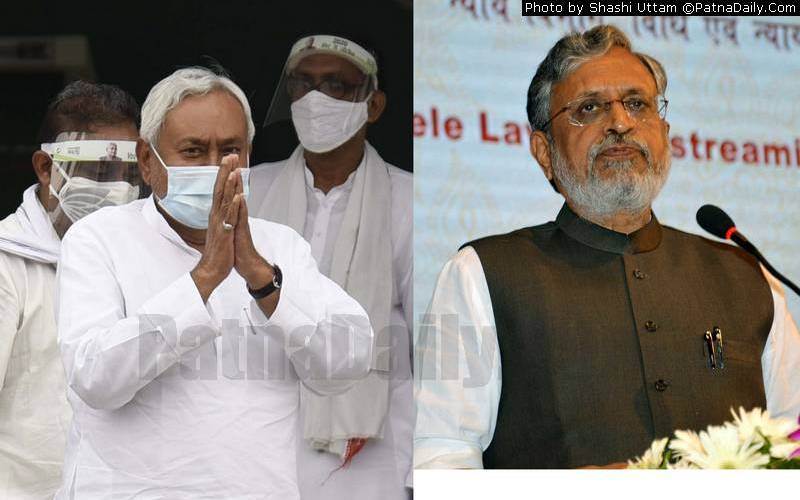 JD-U chief Nitish Kumar and BJP leader Sushil Kumar Modi.